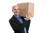 businessman holds the parcel