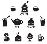 set of vector icons on the theme of tea, coffee, dessert