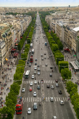 Champs Elysées avenue view from Arch of Triumph