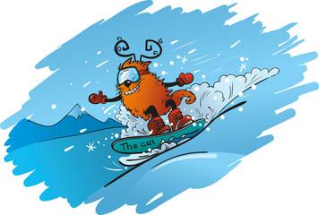 Кот на сноуборде
