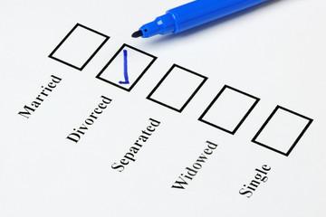 Marital Status Check List. Divorced