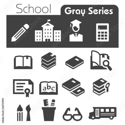 School  Icons Gray Series