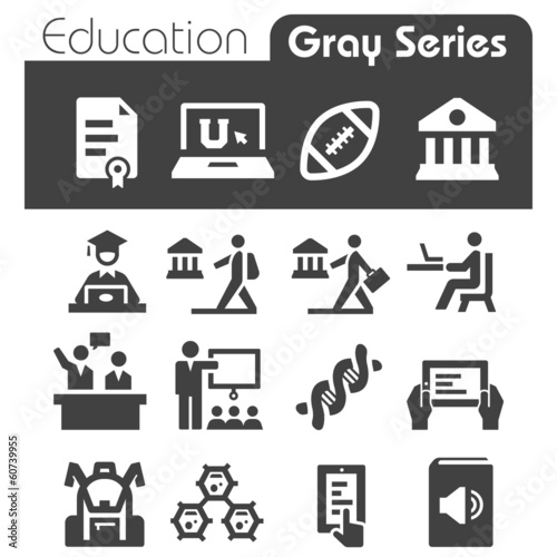 Education Icons Gray Series