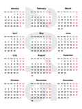 european calendar for the year 2015