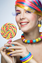 Beautiful woman with candy