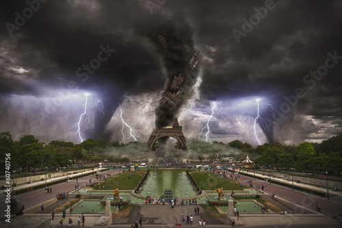 Large Tornado over Eiffel Tower Paris