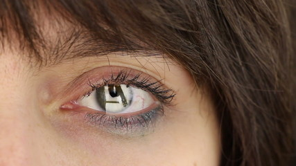 Woman's eye with scene of domestic or sexual violence
