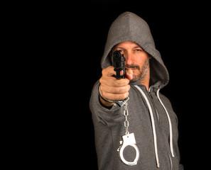 Fugitive with gun