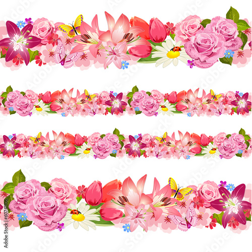 Seamless border of beauty flowers. Set