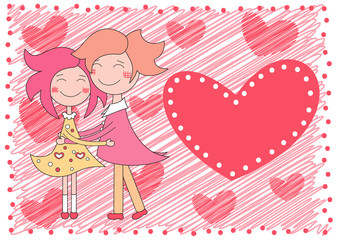 valentines day background with boy and girl