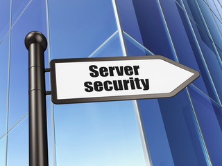 Privacy concept: sign Server Security on Building background