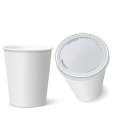 White Paper Cups isolated on white. Vector illustration