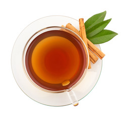 Top view of tea with cinnamon