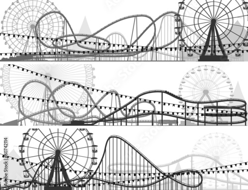 Set of banners of roller-coaster and Ferris Wheel.