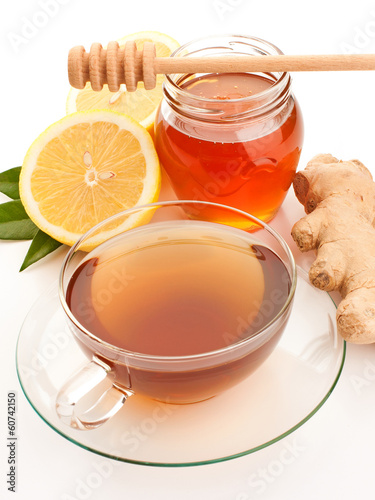 Tea with honey, lemon and ginger