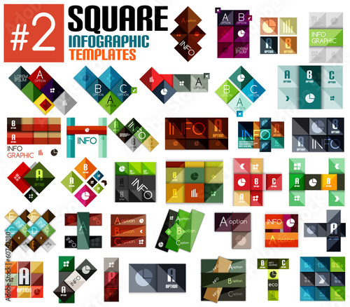 Huge set of square infographic templates #2