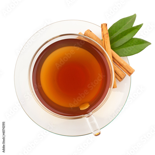 Foto op Aluminium Thee Top view of tea with cinnamon