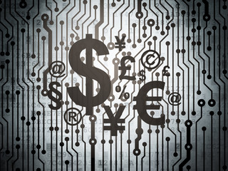 Advertising concept: circuit board with Finance Symbol
