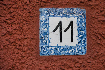 Ceramic number tile eleven