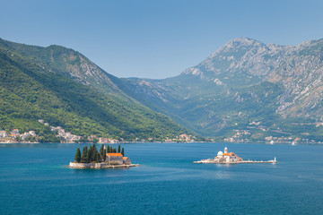 Small islands in Bay of Kotor, Adriatic Sea, Montenegro