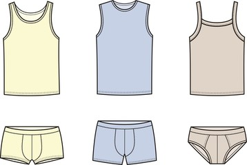 Vector illustration of men's underwear. Singlet and pants