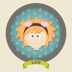 Zodiac signs collection. Cute horoscope - LEO.
