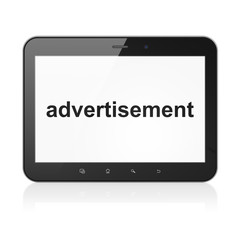 Advertising concept: Advertisement on tablet pc computer