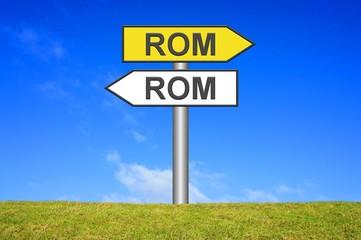 Schild Wegweiser: Viele Wege nach Rom