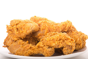 Isolated Plate of Fried Chicken from Side