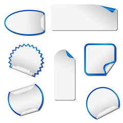 Grey adhesive peeling stickers with blue margins