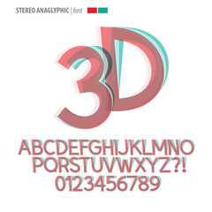 Stereo Anaglyphic Alphabet and Digit Vector