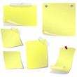 Yellow blank curved pinned memo paper on white