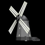 Old windmill with black background