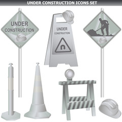 Under construction sign set.