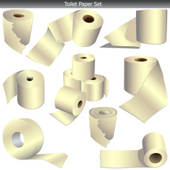 Toilet paper set on white