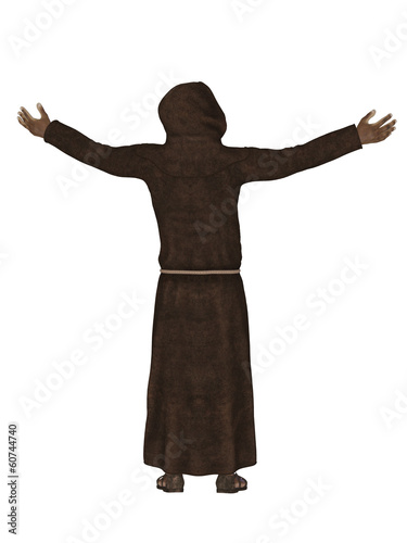 Christian monk, praying to God 3d