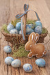 Easter cookie and blue eggs