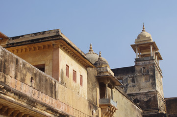 Buildings of Amber Fort in Jaipur