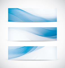 Three abstract blue business wave header background vector