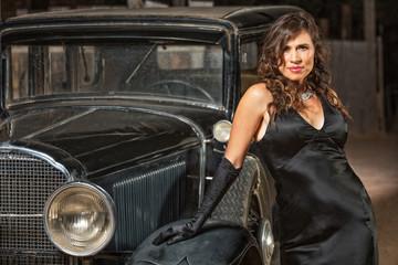 Seductive Woman by Antique Car