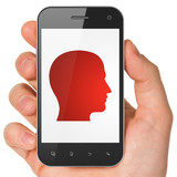 Data concept: Head on smartphone