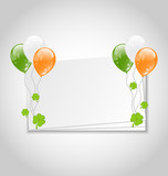Celebration card with balloons in Irish flag color for St. Patri