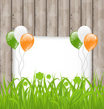 Greeting card with grass and balloons in Irish flag color for St