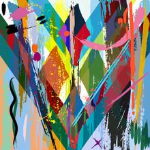 fond abstrait, avec des coups, des éclaboussures et les lignes géométriques