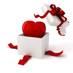 3d present box and hearts on white background