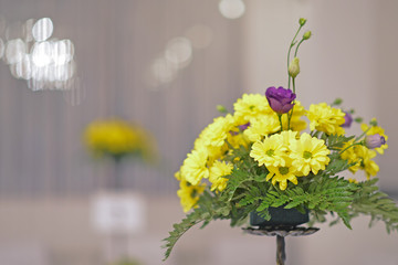 Yellow flower decoration of wedding table.