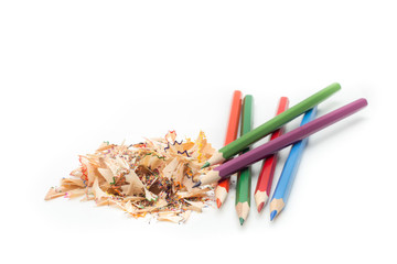 Pencils and Pencil shavings in white background