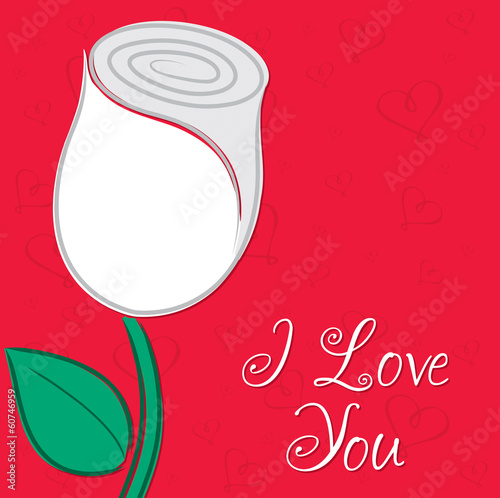 I love you single rose card in vector format