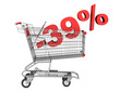 shopping cart with 39 percent discount isolated on white backgro
