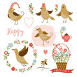Cute birds, holiday graphic elements, vector collection